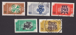 Mexico, Scott #891-893, 895-896, Used, Aztec Designs, Issued 1956 - Mexico