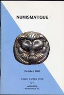 Numismatique - Octobre 2002 Liste A Prix Fixw N.3 Argenor - Catalogo D'Asta - Italian