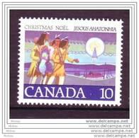 Canada, 1977, #741, Noël Chez Les Indiens D'amériques, Tir à L'arc, Gibier, Chasse, Amérindiens, Amerindian, Christmas - Tir à L'Arc
