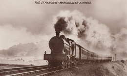 St Pancreas Manchester Express Train Real Photo Postcard - Trains