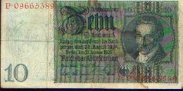 ALLEMAGNE – Reichsbanknote – 10 Reichsmark – 22/01/1929 - 10 Mark
