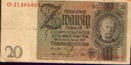 ALLEMAGNE – Reichsbanknote – 20 Reichsmark – 22/01/1929 - [ 3] 1918-1933 : République De Weimar
