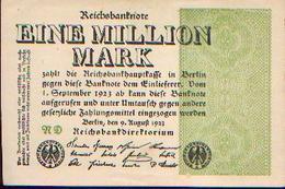 : ALLEMAGNE – Reichsbanknote – 1.000.000 Mark – 09/08/1923 - [ 3] 1918-1933 : République De Weimar
