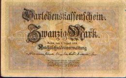 ALLEMAGNE – Darlehnskassenschein – 20 Mark – 05/08/1914 - Allemagne