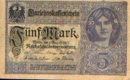 ALLEMAGNE – Darlehnskassenschein – 5 Mark – 01/08/1917 - Allemagne