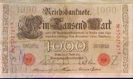 ALLEMAGNE – Reichsbanknote – 1000 Mark (série Rouge) – 21/04/1910 - [ 3] 1918-1933 : République De Weimar