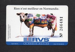 """Carte Jeu Numérotée """" RVS """" La Radio Active / Verso Réseau FM De Normandie - Phonecards"""