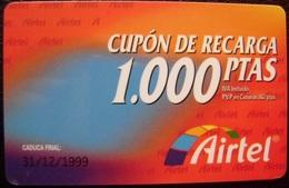 TARJETA AIRTEL - CUPON RECARGA DE 1.000 PTS - USADAS 1ª CALIDAD - A729 - Spain