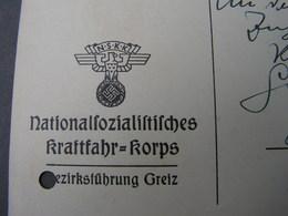 DR Karte Greiz , Kraftfahr Korps .. 1934  Gelocht - Deutschland