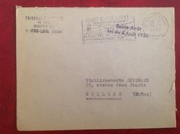 Saint Genis Laval Tribunal Saisie Arrêt Loi Du 4 Août 1930   Franchise Postale - Marcophilie (Lettres)