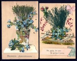 LOT 2 CPA ANCIENNES FRANCE- JOLIES CP FANTAISIES- DECOR GAUFRÉ COLLÉ- COLOMBES- HERBES- MYOSOTIS- NOEUD - Fantaisies
