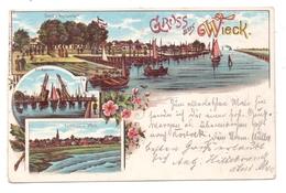 0-2200 GREIFSWALD - WIECK, Lithographie 1897, Jacob's Restaurant, Zugbrücke, Panorama - Greifswald