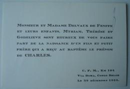Faire-part Naissance Charles Delvaux De Fenffe. - Boma Congo Belge 1955. - Naissance & Baptême