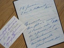 Eugénie Weill CLARETIE (1848-1920) Epouse Jules Clarétie. 2 X AUTOGRAPHE - Autografi