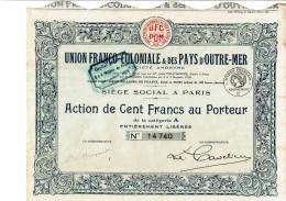75-UNION FRANCO-COLONIALE & DES PAYS D'OUTRE-MER. Action. Lot De 4 - Aandelen