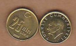 AC - TURKEY: 25 000 LIRA 2001 UNCIRCULATED BRASS COIN - Turquie