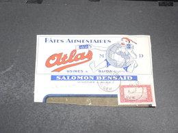 ALGÉRIE - Enveloppe Commerciale ( Fragment )  Publicité Pâtes Alimentaires Atlas - L 20488 - Algeria (1924-1962)