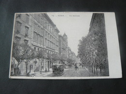 """ANCIENT BEAUTIFUL NEW  POSTCARD OF """" NATIONAL STREET """" IN ROME / ANTICA  NUOVACARTOLINA DI VIA NAZIONALE - Transports"""