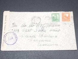 NOUVELLE ZÉLANDE - Enveloppe De  Wellington Pour Santa Barbara En 1942 Avec Contrôle Postal - L 20496 - 1907-1947 Dominion