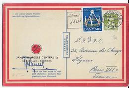 DANEMARK - 1946 - CARTE PUBLICITAIRE ILLUSTREE (CALENDRIER DECEMBRE 1946 AU DOS) De VOEUX NOËL Avec VIGNETTE => PARIS - 1913-47 (Christian X)