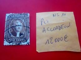 Pli Accordéon-N°11-Stamp 4¢ Emissions Générales-Variété-Curiosité-états-unis-United States-USA,US Postage-Cote/12 000€ - Errors, Freaks & Oddities (EFOs)