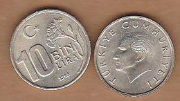 AC - TURKEY 10 000 LIRA 1995 UNCIRCULATED COPPER NICKEL COIN - Turquie