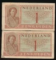 2 BILJETTEN EEN GULDEN 1943 - 2 AFBEELDINGEN - 2 1/2 Gulden