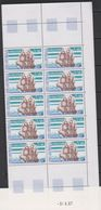 "TAAF 1988 Sailing Ship ""Le Gros Ventre""  1v Bl Of 10 (printing Date) ** Mnh (39655C) - Blocs-feuillets"