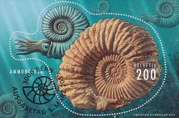Switzerland 2015 Ammonite First Day  With Full First Day Postmark On Miniaturesheet - Schweiz