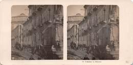 """0031 """" ERDBEBEN ( TERREMOTO DEL 1908 ) IN MESSINA """" ANIMATA CON PERSONE TRA LE MACERIE-CART. STEREOSCOPICA ORIG. - Messina"""
