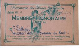Carte De Membre Honoraire De L Harmonie Des Mines De Lievin  N 1576 - Autres Collections