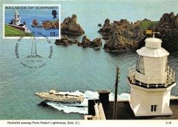 CARTE MAXIMUM : Hydrofoil Passing Point Robert Lighthouse, Sark, C.I. - Tres Bon Etat - Altri