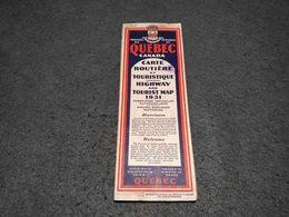 VINTAGE QUEBEC CANADA HIGHWAY AND TOURIST MAP 1931 - Cartes Routières