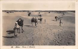 """0039 """" LIBIA - VERSO IL DESERTO """" ANIMATA CON ANIMALI E UOMINI - CART. ORIG. SPED. - Libia"""
