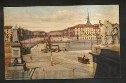 TORINO - PIAZZA VITTORIO (Vista Dalla Gran Madre) Artistica / Animata - ( NON Viaggiata ) - Piazze