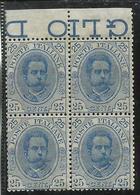 ITALIA REGNO ITALY KINGDOM 1891 1896 UMBERTO 25 CENT. DISCRETA CENTRATURA MNH QUARTINA BORDO DI FOGLIO - Mint/hinged