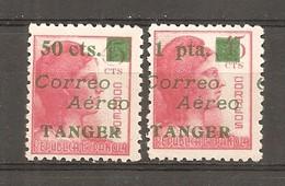 Tánger Español - Edifil NE 11, 14 - Yvert Aéreo 34, 37 (MH/(*)) (sin Goma) - Marruecos Español