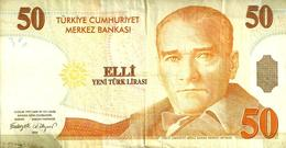 TURKEY 50 LIRA YELLOW MAN FRONT BUILDING BACK DATED 2005 P20a AVF READ DESCRIPTION !! - Turquie