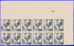 France 1944. ~ YT 640* Bloc De 12 - 2 F. Coq D'Alger - France