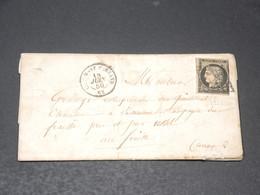 FRANCE - Lettre De Clermont Ferrand Pour Ussel En 1850 , Affranchissement Cérès 20c Noir - L 20579 - 1849-1876: Periodo Classico