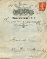 ENVELOPPE 1912 DROSSNER ET CIE CONSTRUCTEURS MECANICIENS PARIS III - 1877-1920: Période Semi Moderne