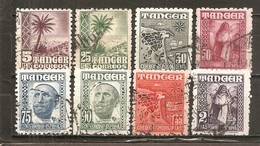 Tánger Español - Edifil 153, 156-57, 159-63 - Yvert 371, 373-77, 385-85A (usado) (o) - Maroc Espagnol