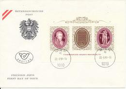 Austria FDC Music Mini Sheet Wolfgang Amadeus Mozart 22-3-1991 - Muziek