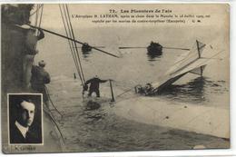 1 Cpa L'aéroplane H. Latham, Après Sa Chute Dans La Manche Le 18 Juillet 1909 - Accidents