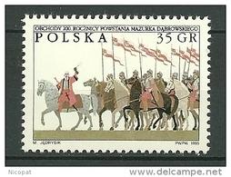POLAND MNH ** 3359 Hymme National Dabrowski Mazurka, Groupe De Cavaliers, Cheval, Chevaux - 1944-.... République