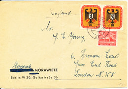 Germany Berlin Cover Sent To England Berlin 4-5-1956 (the Cover Is Bended) - [7] Federal Republic