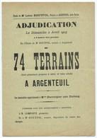 ARGENTEUIL CATALOGUE De Vente Par ADJUDICATION 74 TERRAINS 1905 - Documents Historiques
