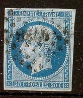 SUPERBE NAPOLEON N°14 Ae 20c Bleu / Lilas Oblitéré Losange PC 2738 Cote 80 Euro PAS D'AMINCI - 1853-1860 Napoléon III