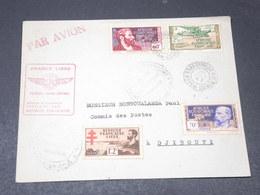 A.E.F. - 1 Er Vol A.E.F. / Somalis En 1943 , Affranchissement Plaisant , Contrôle Postal - L 20614 - A.E.F. (1936-1958)
