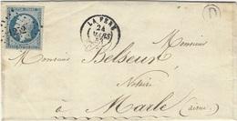 1853- Lettre De LA FERE ( Aisne ) Cad T15  Affr. N°10 ( 4 Marges ) Oblit. P C 1252 Pour Marle - Marcophilie (Lettres)